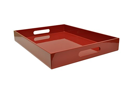 Plateau en bois laqué, laque naturel, rouge brillant, 40 cm x 30 cm