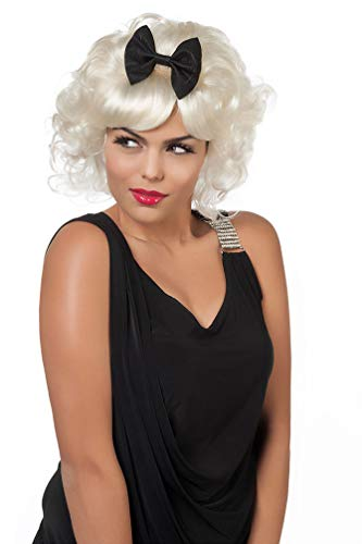 Karneval-Klamotten Marilyn Monroe Perücke blond Locken lockig kurz mit Scheife Damen-Perücke (Hollywood Motto Kostüm Kinder)