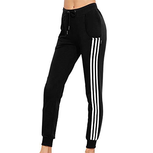 Yunhou Damen Freizeithosen Sporthose Streifen Farbe Spleißen Sweathose für Yoga Training Marathon Pilates Jogginghose mit Taschen und Kordelzug S-3Xl (Kordelzug Marathon)