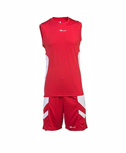 Asioka 58/13N Basketball Trikot ohne Ärmel, Kinder, Kinder, 58/13N, rot/weiß, 8-10/3XS