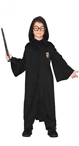 shoperama Schwarze Zauberer Robe mit Kapuze für Jungen Magier Zauberer Zauberlehrling Kinder-Kostüm