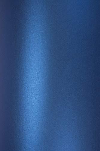 Netuno 10 x Perlmutt-Blau 120g Papier DIN A4 210x297mm Majestic Satin Blue doppelseitig schimmernd Perlglanz Pearl-Papier metallic glänzend Bastel-Karton für Inkjet und Laser Drucker -