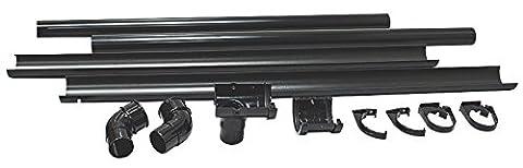 Floplast (BLACK) HALF SHED MINI Guttering Pack 2 metre (6FT) inc 50mm Downpipes & 76mm Miniflo Guttering for shed, porch, conservatory, out building, etc BLACK