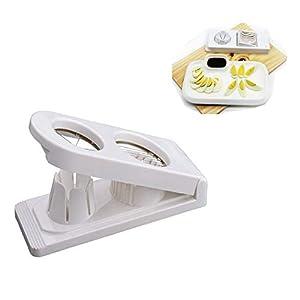 Qiajie 2 in 1 Edelstahl Eierschneider Cutter Portable Ei Dicer Salatschneider für Home Kitchen
