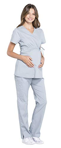 Cherokee Workwear Professionals Women's Maternity Mock Wrap Top WW685 & Straight Leg Pant WW220 Scrub Set - Cherokee Empire-taille-top