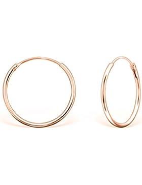 DTPsilver - Damen - Creolen - Ohrringe 925 Sterling Silber und Rosen Vergoldet - Dicke 1.2 mm - Durchmesser 20 mm