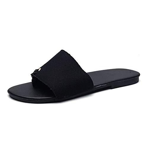 Casual Suede Shoe Leinen Leinwand Slipper für Männer Sommer Casual Slip On Flache Weiche Leichte Ring Toe Slides Sandale Outdoor Herren Sneaker (Color : Schwarz, Größe : 44 EU) Ring Slide Sandalen