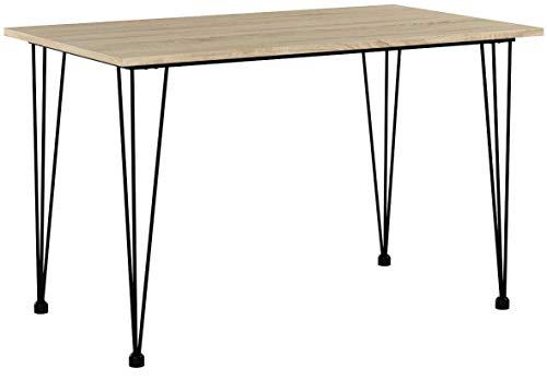 [en.casa] Design Esstisch 'Hairpin' in Eichen-Optik 120x70cm - Küchentisch Esszimmertisch Tisch mit Hairpin-Legs