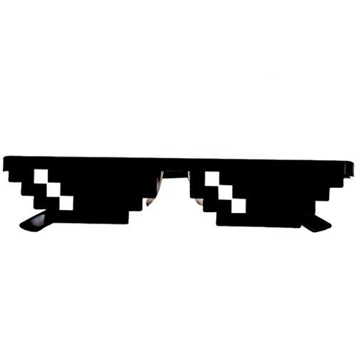 WalshK Thug vida gafas 8 bits Pixel tratar con gafas de sol unisex gafas de sol de juguete (A)