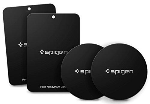 Spigen Kuel [A210] Metallplatten für Magnetische KFZ Handyhalterung mit 3M Kleber - 4er Pack (2 Runde 2 Rechteckige)