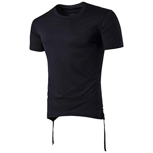 CHENGYANG Herren Basic T-shirt Stylisch Design Rundhals Kurzarm Ebene Shirt Bluse Schwarz