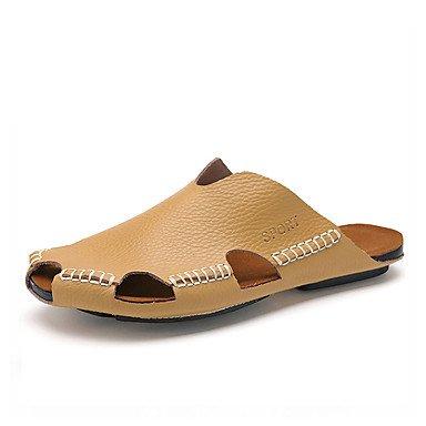 Slippers & amp da uomo;Estate Comfort similpelle casuale che cammina Tallone piano cuciture in pizzo nero sandali US8.5-9 / EU41 / UK7.5-8 / CN42