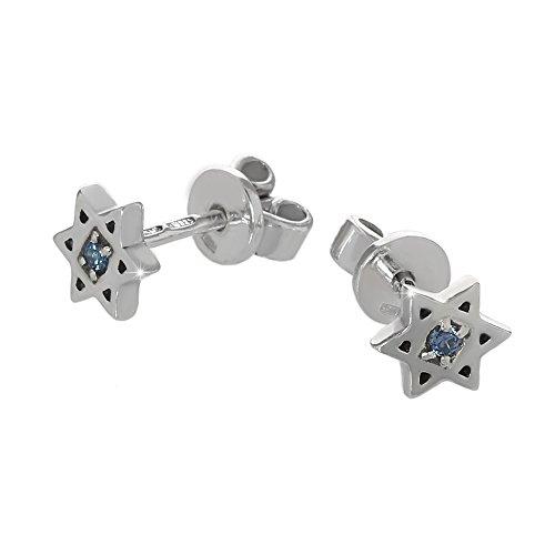 nklaus paio di orecchini in argento Sterling 925orecchini stella di David Zirconi Blu Nuovo 6188