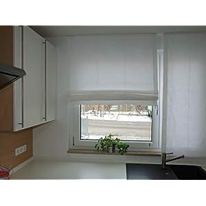 Lemos-Home Raffrollo aus 100% Baumwolle. Blickdichtes Stoffrollo. Weiss B 100 x H 160 cm. Weitere Farbe und Größen wählbar