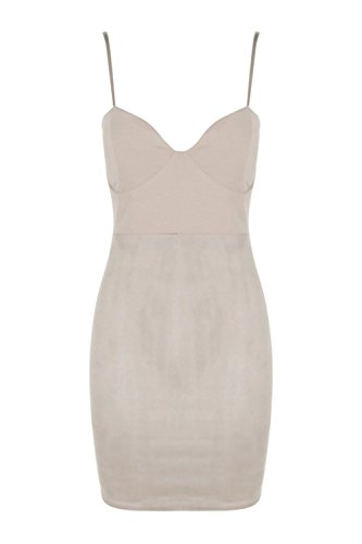 Grau Damen Schaley Suede Panel Vorderseite Bodycon Kleid Grau