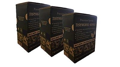 CARBOGARDEN® Premium Spezial TISCHGRILL-Holzkohle für alle handelsüblichen Tischgrills, rauchfrei, 100% Buche, für bis zu 6 x Grillen, im praktischen Schüttkarton