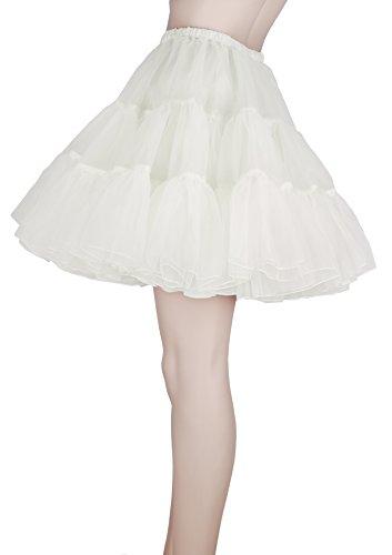 Flora® 50er Jahre Rock n Roll Hoopless Short Unterrock/ Feines Tutu Petticoat, 18 Länge Elfenbein