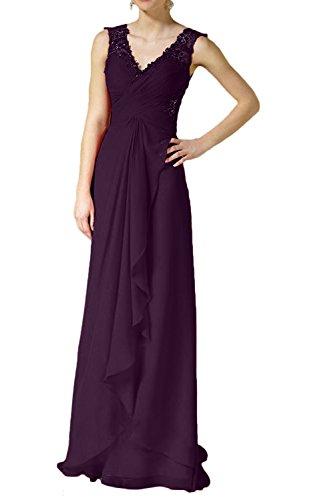 Charmant Damen Rot Spitze Chiffon Abendkleider lang partykleider Abschlussballkleider bodenlang Traube