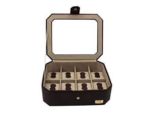 Cordays - Ecrin à 8 rangs pour Montres et Bijoux construit à la main, avec couvercle de verre trempé haute qualité. Marron CDM-000036