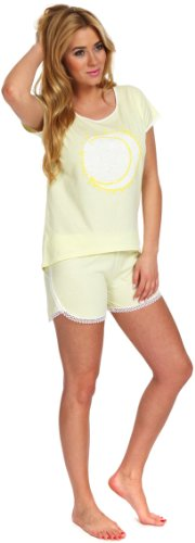Italian Fashion IF Ensemble de Pyjama Femme Megan 0227 Jaune