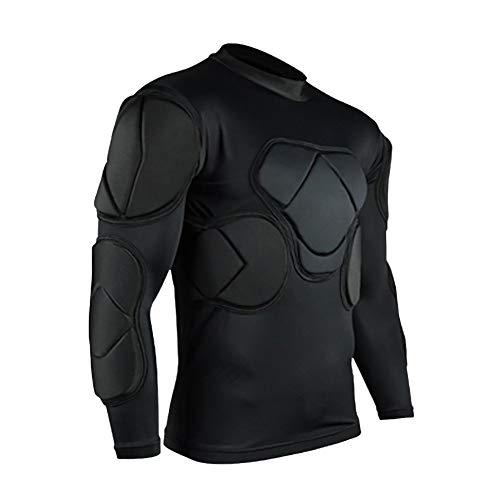 QIKEGooods Sports Gepolsterte Kompression T-Shirt Tops Langarm Guard Schutzhemd Schulter Rippe Brustschutz für Outdoor Fußball Basketball Paintball Rugby