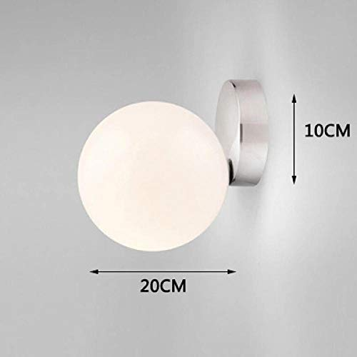 Moderne led glas wandleuchte wohnzimmer schlafzimmer milch weiß global glasschirm glaskugel beleuchtung @ dia20cm silver_nature weiß (3500-5500k) -