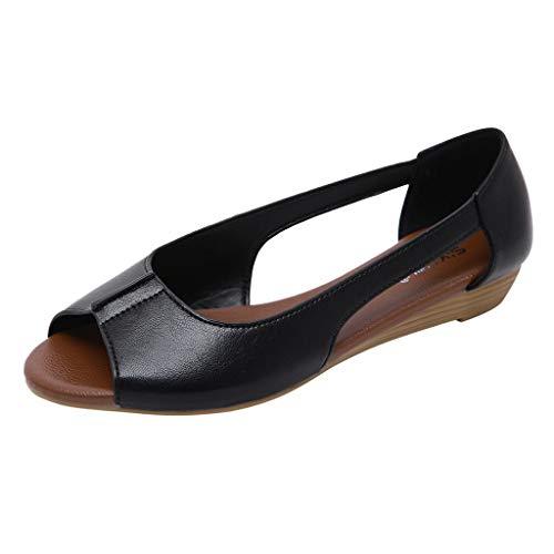 LSAltd Sommer Frauen Fisch Mund Atmungsaktiv Hohl Comfy Wedge Einzelne Schuhe Erbsen Schuhe Faule Schuhe Sandalen -