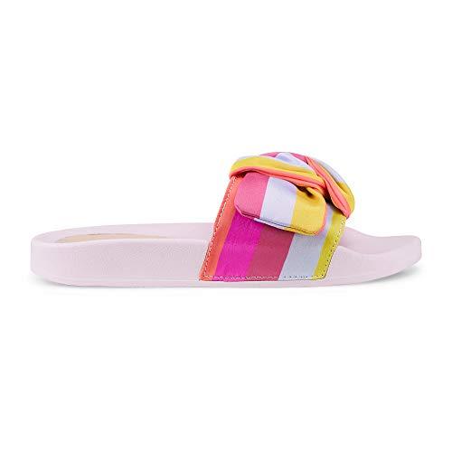 Another A Damen Damen Trend-Pantolette in Rosa, sommerliche Strandschuhe mit bunten Riemen im Streifen-Design Rosa Textil 38 -
