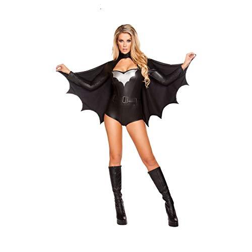 Halloween Kostüm Erwachsene Cosplay Batman Sexy Frauen Party Kleid Superman Krieger Kostüm Geeignet Für Karneval Thema Parteien,Black,OneSize (Krieger Mädchen Kostüm)
