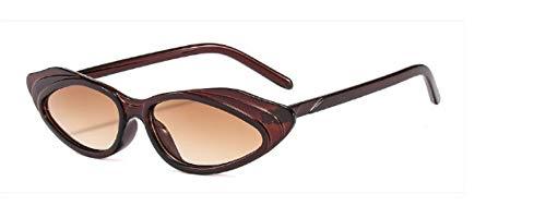 ZJMIYJ Sonnenbrillen Crystal Cat Eye Sonnenbrille Frauen Streifen Sonnenbrille Männer Frauen Brillen braun mit kleinem Rahmen