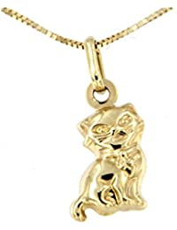 Lucchetta - Yellow Gold Cat pendant Necklace - 9ct Gold Women with Cat pendant