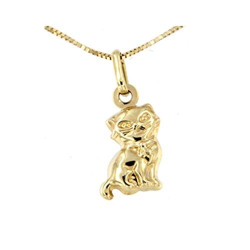 Lucchetta - Joyas Collar colgante de gato de oro amarillo - Collar de mujer nino oro de 9ct con gato