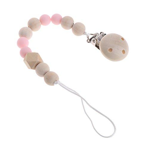 Jiamins Attache Sucettes en bois Accroche Tétine pour Bébé, Wooden Pacifier Chain Clip (Rose)