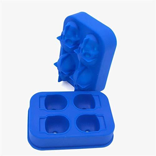 3D Totenkopf-Eiswürfelform - essbare Qualität 4 Totenkopf-Eiswürfel für Whiskey, Scotch, Cocktail, Likör oder Gelee, Süßigkeiten, Schokoladenform, Blau, Party, Halloween-Geschenk für Kinder, ()