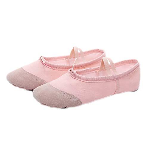 Demarkt Gute Qualität Ballettschuhe weich Spitzenschuhe Ballet Trainings Schläppchen Schuhe für Mädchen, Damen - Rosa