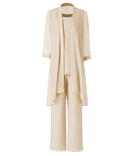 Pretygirl Damen 3 Stück Satin Chiffon Kleid für die Brautmutter Hose mit Jacke Outfit für Hochzeit Bräutigam(US 20 Plus, Champagner) -