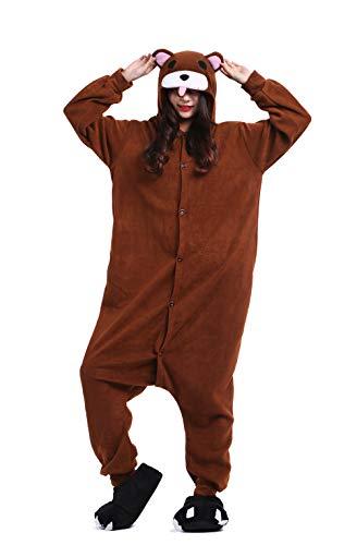 Unisex Pyjama/Schlafanzug/Einteiler, Tiermotiv, für Halloween, Cosplay-Kostüm Gr. Medium, Brown Bear (Brown Bear Pyjama Kostüm)