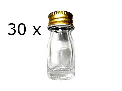 30 x Klarglasflasche 7 ml + Schraubdeckel aus Metall Minifläschchen Fläschchen Flasche