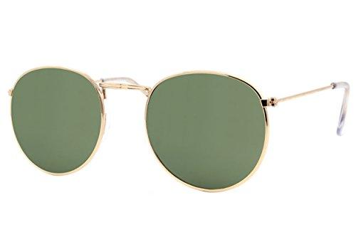 Cheapass Sonnenbrille Rund Gold Grün UV-400 Retro Vintage Damen Herren