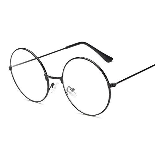 MOMOQU Sonnenbrillen Mode Vintage Retro Metallrahmen Klare Linse Brille Nerd Geek Eyewear Brillen Schwarz Übergroße runde Kreis Brillen , Schwarz