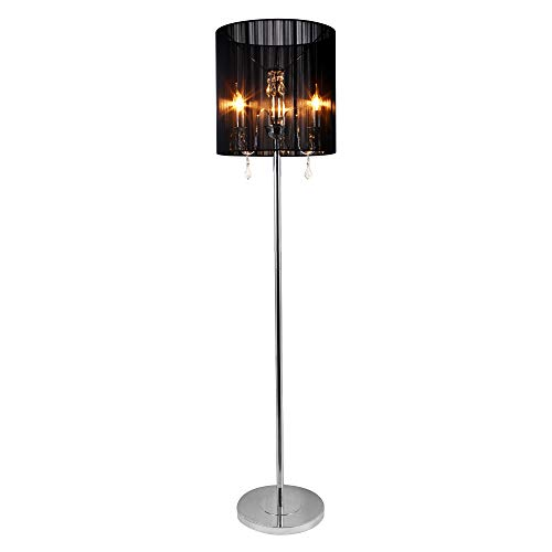 [lux.pro] Stehleuchte -Fabrica- (3 x E 14 Sockel) (167 cm x Ø 40 cm) (schwarz) + Kristallbehang...