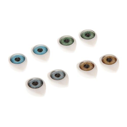 Sharplace 8pcs 4 Farben Ovale Sicherheitsaugen Kunststoffaugen Puppe Augen für Puppe Maske DIY Zubehör - 9mm