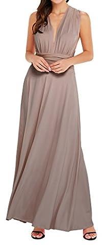 EasyMy Frauen Transforme Brown Maxi Kleid Wrap Cocktailkleid Lang Abendkleider (Hippie Vintage-wrap)
