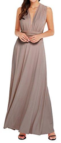 EasyMy Frauen Transforme Brown Maxi Kleid Wrap Cocktailkleid Lang Abendkleider Frauen Maxi Abend Kleider
