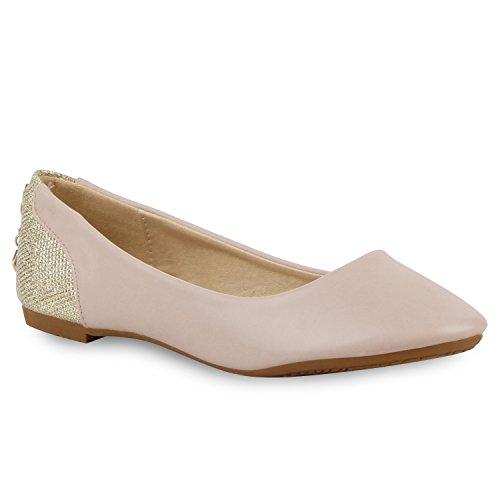 Klassische Damen Ballerinas | Hochwertiges Lederimitat | Freizeit Flats in verschiedenen Farben| Glitzer Schuhe mit Zipper| Gr. 36-41 Rosa
