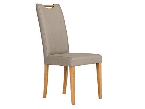 massivum 2er-Set Esszimmer-Stuhl Pennsylvania 46x100x60 cm Bezug Spalt-Leder beige und Gestell Holz massiv Buche lackiert