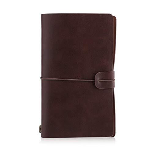 8Eninide Portable Students School Writing Notebook Travel Diary Journal Planner Agenda Dark Brown
