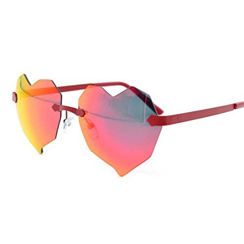 GUO Sonnenbrillen Mode ohne Rahmen rosa Herzen Sonnenbrille,