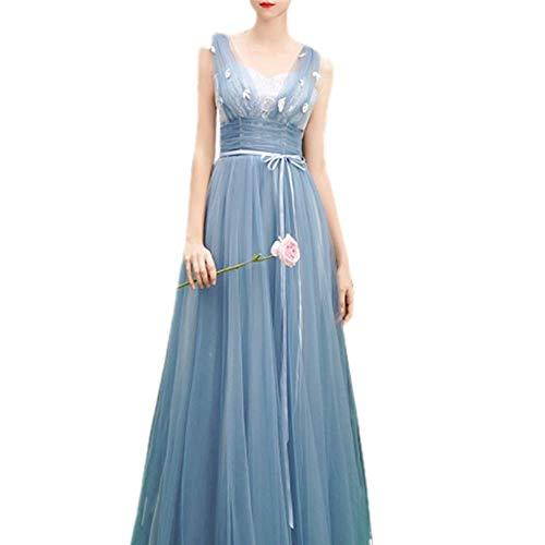 ZLDDE Kleid Damen Blauer Elegant Vintage Spitze Kleid mit Tüll Party Kleider Abendkleid V-Ausschnitt (Grecian Kleid Plus Größe)