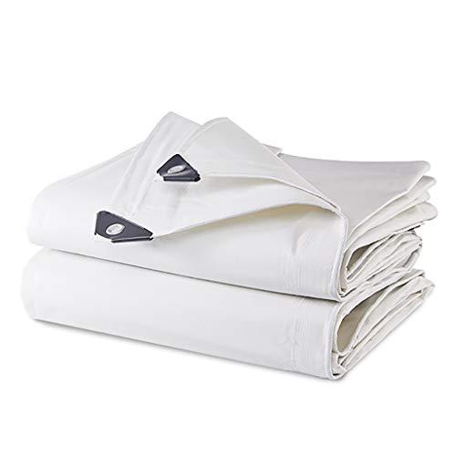 HHM wasserdichte Tarps 4m × 6m 12,5-mil Dicke Regenhüllen Drop Cloths Camping Zelte Weiß - Perfekt für Rucksacktouren, Camping, Schutz, Schatten, Bodendecker (Color : White, Size : 4m × 6m) -